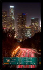 Road to Downtown (cloudbi) Tags: city building skyline night lights la losangeles downtown 110 structures freeway lighttrails downtownla lighttrail downtownlosangeles laskyline fwy110