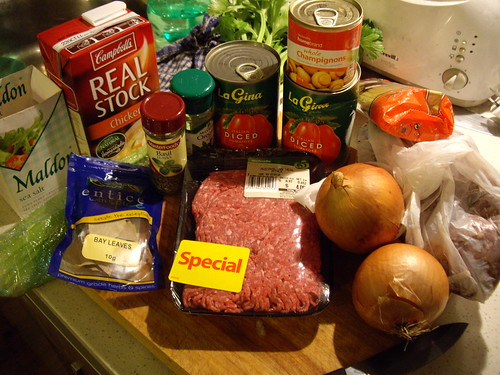 Bolognese ingredients