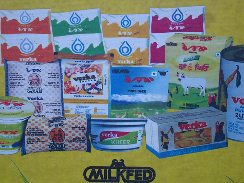 A large variety of milk and milk products are on sale