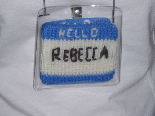 Knit name tag