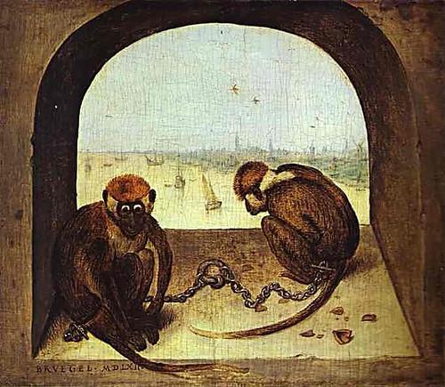 Петер Брьогел Стари - Две оковани маймуни