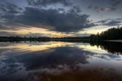 on the lake (Mariusz Petelicki) Tags: sunset lake reflection clouds zachd zalew mariuszpetelicki
