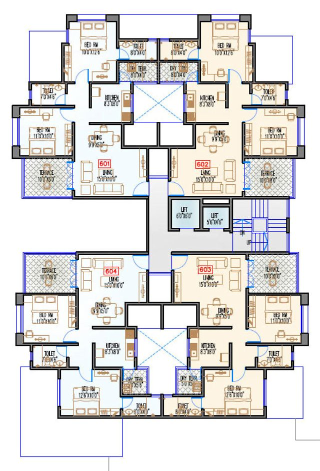 Navjeevan Properties'  Blue Bells, 2 BHK Flats opposite Pu La Deshpande Udyan on Sinhagad Road Floor Plan - 6th floor