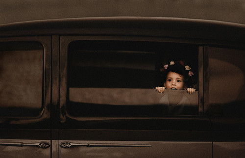 Studio Valentine Photography - Flower Girl playing in Vintage Car