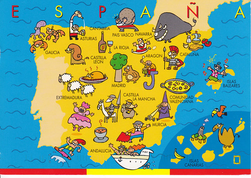 Spain Cartoon Map Postcard