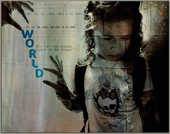 (S)He's got the whole world in his hands... (fortheloveofFiona) Tags: world graffiti flickr grunge text brickwall littlegirl girlscouts challenge picnik sundayschool wholeworld hesgotthewholeworldinhishands picnikchallengetext picnikforum monsterhighshirt