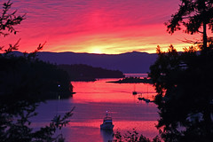 Life is tough on the Sunshine Coast (Peggy Collins) Tags: ocean pink sunset sea seascape canada color reflections landscape boats island bay interestingness scenery colorful view purple sundown harbour britishcolumbia explore pacificnorthwest vista sailboats penderharbour sunshinecoast peggycollins