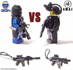 GIGN vs SWAT 2 (Shobrick) Tags: night radio lego gear vision tiny weapon vest custom smg swat m16 holster tactical suppressed gign brickarms shobrick