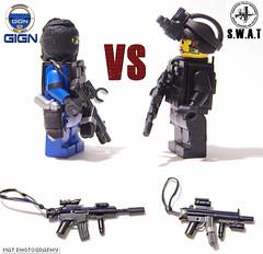 GIGN vs SWAT 2 (Shobrick) Tags: night radio lego gear vision tiny weapon vest custom smg swat m16 holster tactical suppressed gign brickarms shobrick