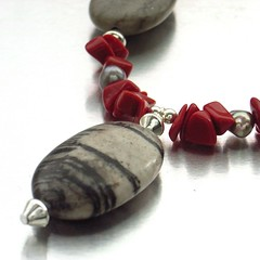 Picasso jasper ovals necklace (Blue Forest Jewellery) Tags: uk blue autumn red color colour geometric stone forest grey necklace beads jasper handmade stones oneofakind gray craft ovals jewelry tribal chips jewellery picasso bead handcrafted pearl trend bold 2010 freshwater gemstones semiprecious distinctive leopardjasper