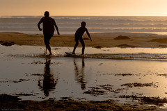 Father and son playing and bonding on Bogey-Board on Morro Strand State Beach (mikebaird) Tags: people playing man father son activity waterplay wholesome bonding morrostrand p6000 mikebaird bogeyboard 27sept2010