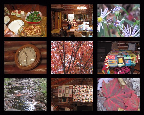 collage of our quilting retreat weekend