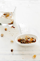 Granola (Laksmi W) Tags: white coconut nuts raisins honey vegetarian almonds yoghurt organic granola dates oats apricots sugarfree sesam sunflowerseeds foodphotography driedapples flaxseed mysli sprucesyrup
