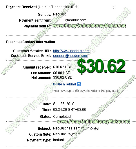 Neobux Payment Proof $30.62 on September 26, 2010 - PinayOnlineMoneyMaker.net