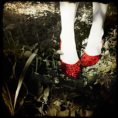 searching for home (::fotorosso::) Tags: red woman selfportrait film me girl fairytale self square dorothy shoes craft precious sequins wizardofoz cinematic rubyslippers noplacelikehome totw colorpop clickyourheels findingmywayback 525oftwentyten 525of2010 offtheyellowbrickroad