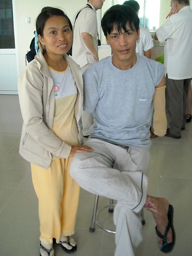 Dung and Linh at the Prosthetic Shop