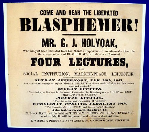 Poster advertising lectures by Holyoake. Photograph courtesy of Leicester Secular Society