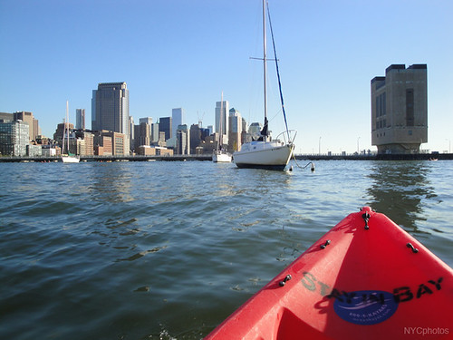 Kayaking toward Lower Manhattan