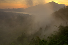Sunrise at Kintamani (Helminadia Ranford(New York)) Tags: bali lake fog sunrise indonesia view kintamani