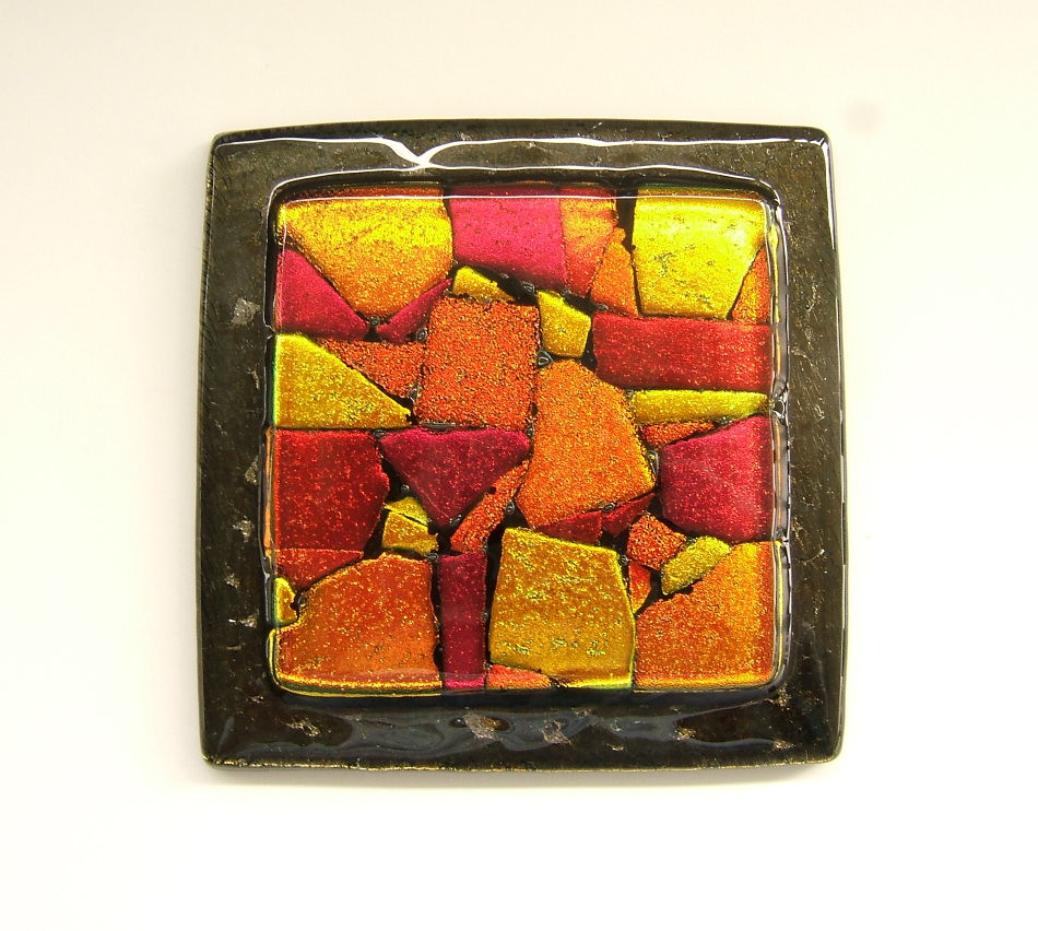 Art Glass Tile - Glass Knob in Shades of Red on Bronze