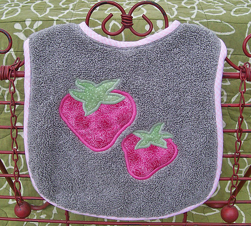 double strawberry baby bib