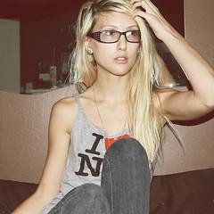Shandi-lee XIII {questions} (Shandi-lee) Tags: selfportrait nerd girl glasses bedroom alone sitting emo jeans blonde iheartny i3ny rippedshirt shandilee