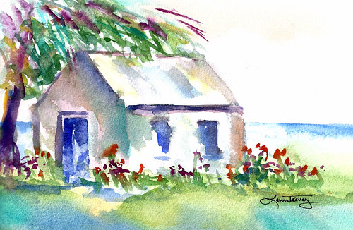 Bright Watercolor Painting - Weekend Retreat