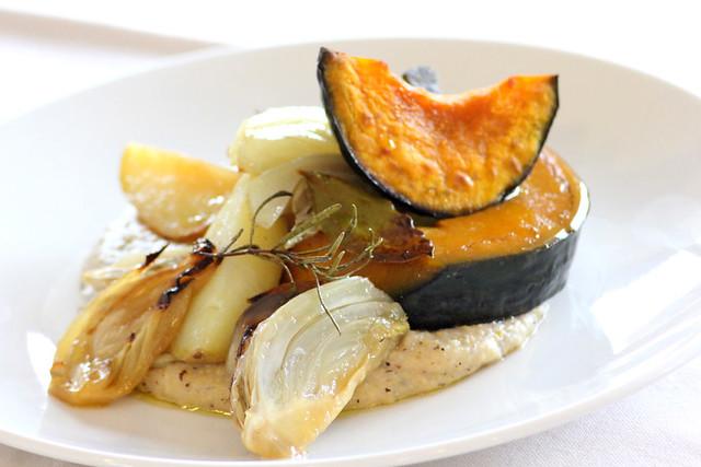 zucca arrostita con polenta al gorgonzola