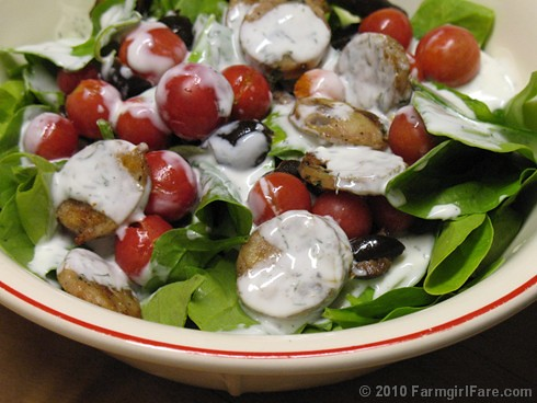 Spinach Salad with Cherry Tomatoes, Black Olives, Chicken Sausage, and Homemade Buttermilk Ranch Dressing