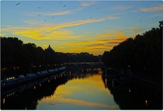 wings to the sunset... (Ev@ ;-)) Tags: blue sunset sky italy orange stpeters rome river tevere pontesisto vaticancity samsungdigitalcamera samsungnx10