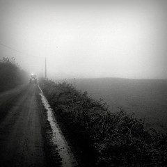Tractor #00270016 (filipe franco) Tags: road tractor fog analog analgica nebel estrada kodakbw400cn nebbia niebla dimma nevoeiro canoneos300  canon300 kubrickslook scattifotografici