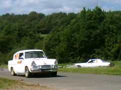Anglia with Mercedes 500 chasing (74Mex) Tags: old deutschland mercedes with rally historic 500 slowly timer sideways chasing 2010 anglia panzerplatte