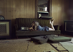 (yyellowbird) Tags: house abandoned girl radio vintage illinois livingroom couch cari