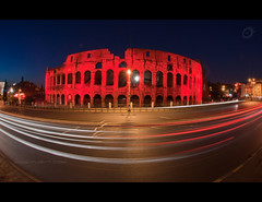 Fisheye Colosseum - Rome (Yug_and_her) Tags: road longexposure travel sky italy holiday rome roma tourism architecture night lights nikon europe roman fisheye colosseum arena emirates round historical streaks ultrawide colloseum f28 lateevening 105mm d90 monumnent