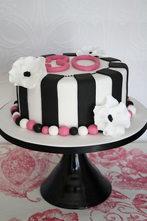 Monochrome 30th cake by Cotton and Crumbs