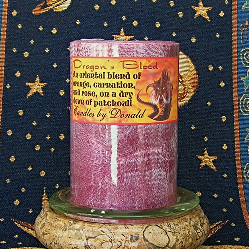 Dragons Blood scented handmade natural palm wax pillar candle