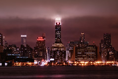 New York City (mudpig) Tags: city nyc newyorkcity longexposure cloud mist ny newyork reflection fog skyline night geotagged newjersey neon cityscape nj newyorker esb hudsonriver empirestatebuilding gothamist unioncity hdr hoboken newyorktimes newyorkerhotel unionhill onepennplaza mudpig stevekelley