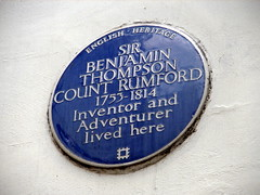 Photo of Benjamin Thompson blue plaque
