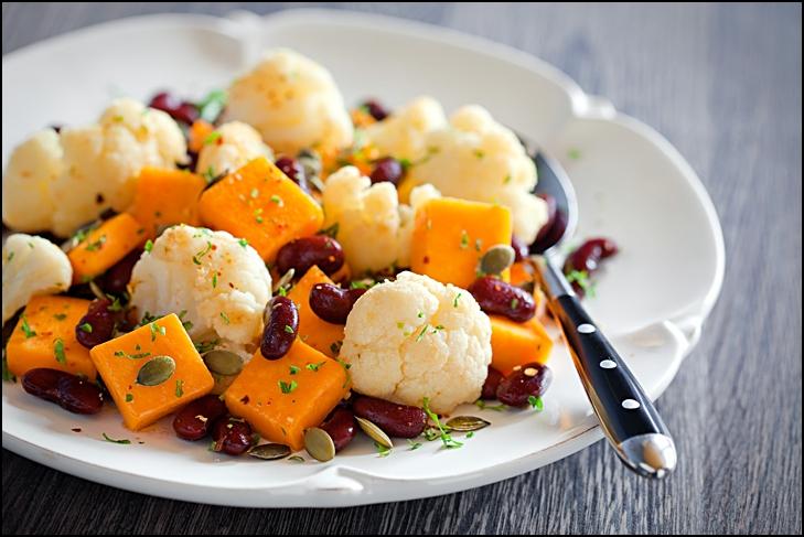 Pumpkin, cauliflower and bean salad