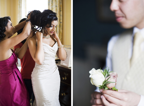 Sugi gets help from her Bridesmaids, while the Bestman sorts out his button hole