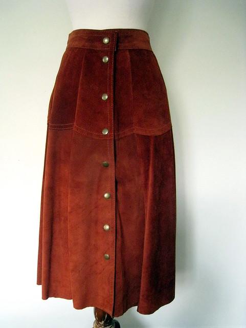 Rust Suede Skirt, Vintage 70's