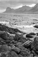 Pringle Bay I (Stephen A. Wolfe) Tags: seascape film southafrica 50mm blackwhite rocks trix nikonf100 westerncape blackandwhitefilm blackwhitefilm bwlandscapes pringlebay classicblackwhite niksoftware apertureusers bwtheartofphotography thebestofblackwhitephotography kodaktrix400blackandwhite centralohiophotographers niksoftwarephotoshare viveza2 aperture3