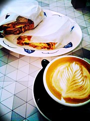 Jamaican Pork Sandwich + Flat White, Forty Hands