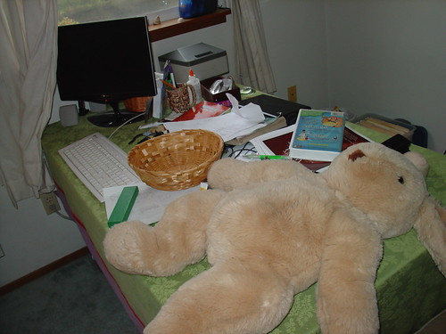 The kids desk after a week of very active homeschooling...