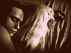 blueamber ({amymichelle}) Tags: sunlight sepia skin sleep sheets pillow freckles