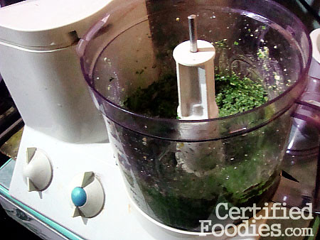 Creamy Pesto Pasta Recipe - Pesto Sauce in the food processor - CertifiedFoodies.com