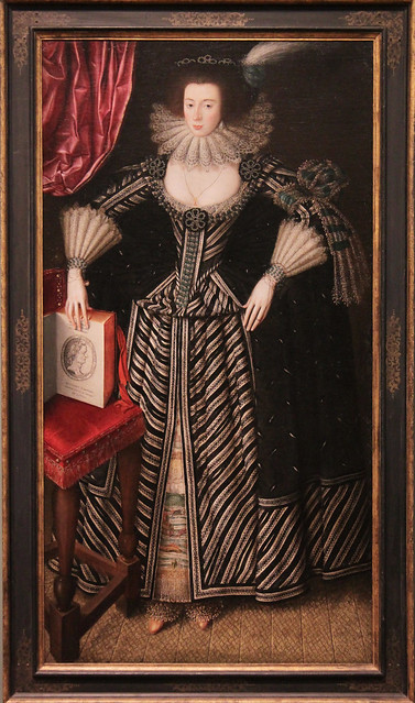 Portrait of lady, probably Mrs Clement Edmondes, British School 17th c, about 1605-10