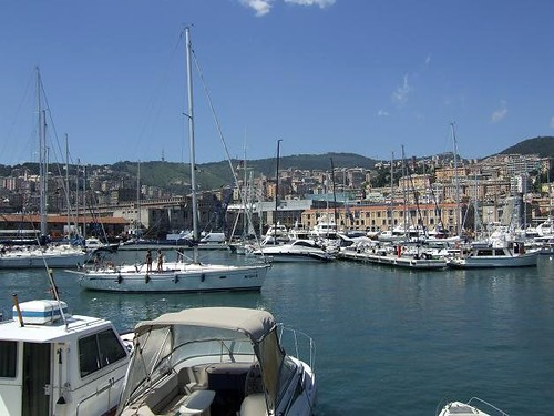 beautiful yachts in old port in Genoa