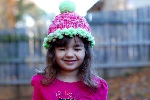 v outside in her new hat 022