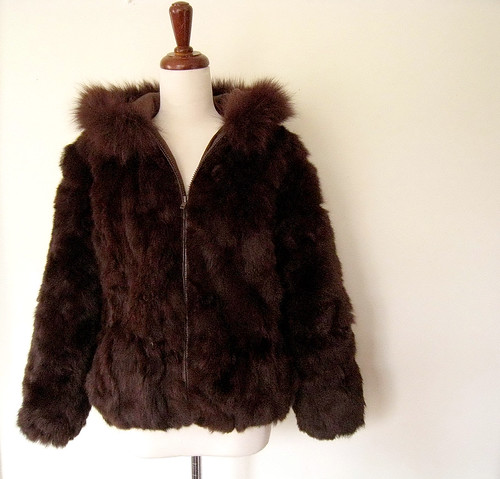 Warm Chocolate Brown Hooded FUR Coat, Vintage 80's